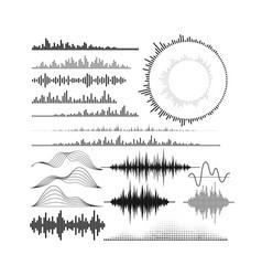 Set of audio equalizer shapes vector