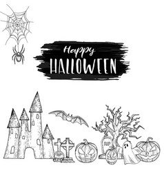 set of scary halloween vector image