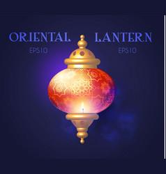 Shining oriental lantern with light arabic vector