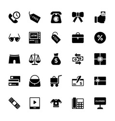 Shopping and commerce glyph icons 4 vector