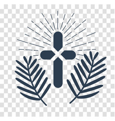 Silhouette icon palm sunday vector