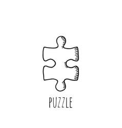 sketch jigsaw puzzle piece vector image