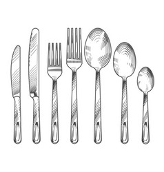 Sketch silver knife fork and spoon hand drawn vector