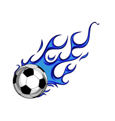 Soccer ball with blue flames vector