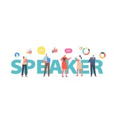 Speaker concept tiny businesspeople board meeting vector