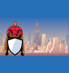 superhero holding shield in city vector image