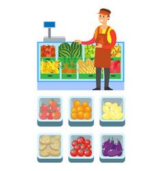 Supermarket store vegetables department vector