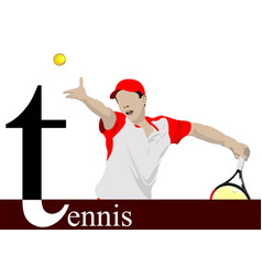 Tennis player poster colored for designers vector
