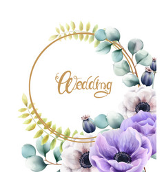 Watercolor flowers and leaves wedding greeting vector