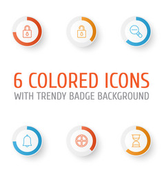web icons set collection of zoom out unlock vector image