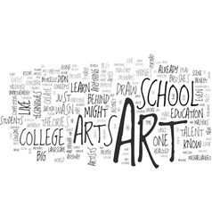 why bother with art colleges text word cloud vector image