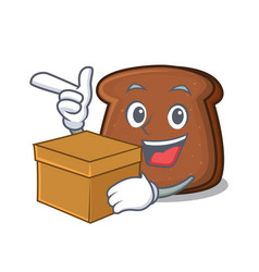 With box brown bread character cartoon vector