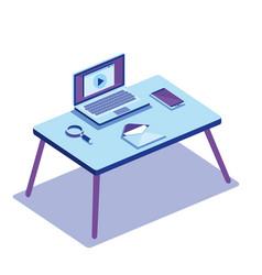 Workplace scene isometrics icons vector