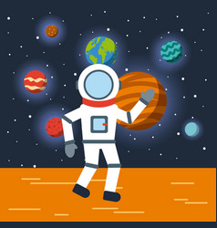 astronaut solar system flat vector image vector image