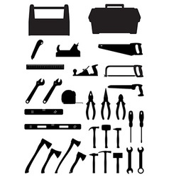 black silhouette set tools vector image vector image