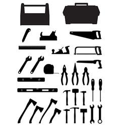 black silhouette set tools vector image
