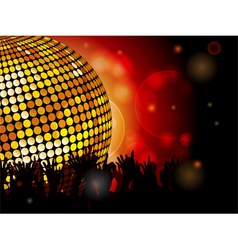 Disco ball and crowd vector image vector image