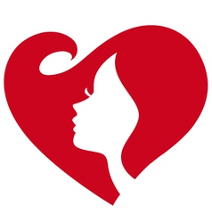 female silhouette red heart vector image vector image