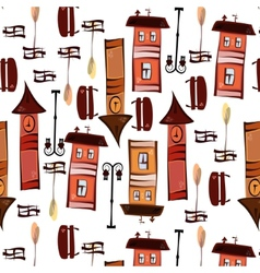 Pattern of elements of the old town vector image