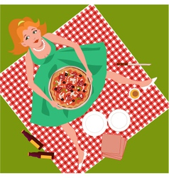 Picnic with pizza vector image vector image