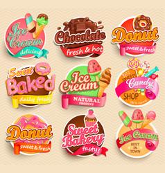 set of sweet food labels vector image