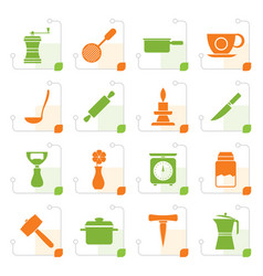 stylized kitchen and household tools icons vector image