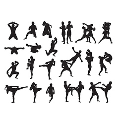 Thai Boxing fight traditional dance before fight vector image