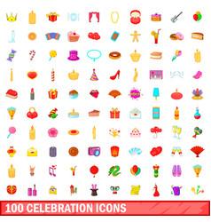 100 celebration icons set cartoon style vector image vector image