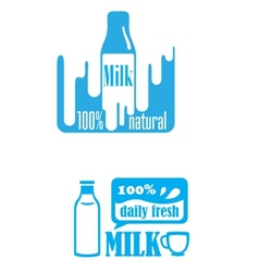 Fresh dairy and 100 percent natural milk labels vector image vector image