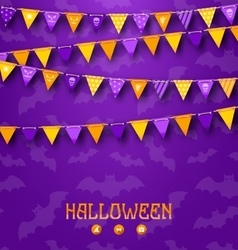Halloween Party Background with Colored Bunting vector image vector image