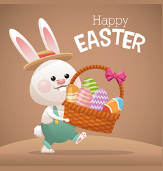 happy easter card bunny carrying basket egg vector image vector image