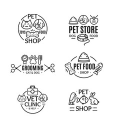 pet shop badges or labels line art set vector image