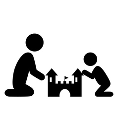Pictograms Flat Family Icon with Sand Castle vector image