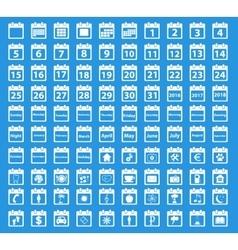 Calendar white icon set vector image