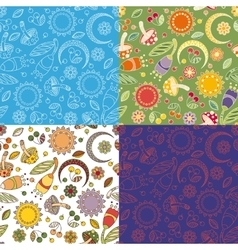 Colorful cheerful pattern with mushrooms vector image vector image