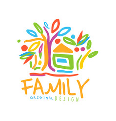 Colorful logo for family business with house and vector