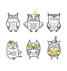 cute hand drawn owls set vector image vector image