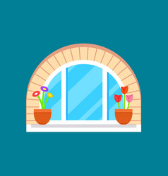 Residential window with flower on windowsill vector