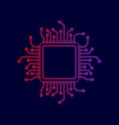 cpu microprocessor line icon vector image