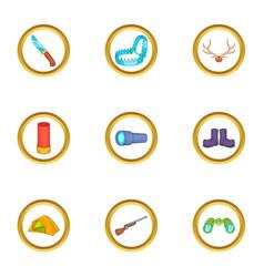 Hunter tools icons set cartoon style vector