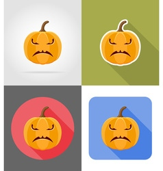 pumpkins for halloween flat icons 03 vector image