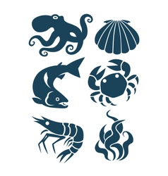 sea life and food icons vector image vector image