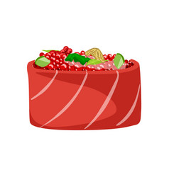 sushi with salmon fish topped with red caviar vector image vector image