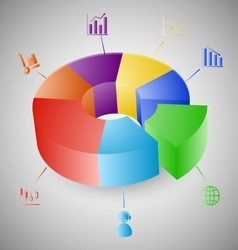 3D pie chart graph infographic vector