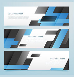 Abstract black and blue geometric banners set vector