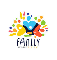 Abstract colorful family logo design template vector