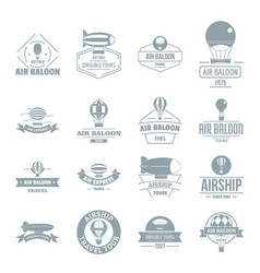 Air balloon icons set simple style vector