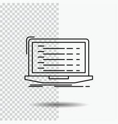 Api app coding developer laptop line icon on vector