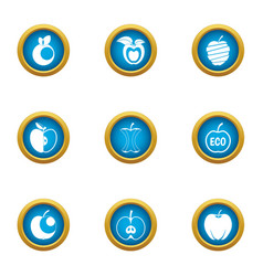 applesauce icons set flat style vector image