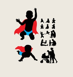 Baby is hero silhouettes vector